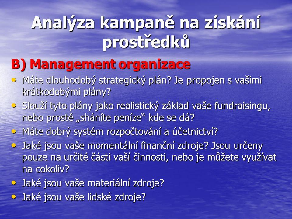 Analýza kampaně na získání prostředků B) Management organizace Máte dlouhodobý strategický plán? Je propojen s vašimi krátkodobými plány? Máte dlouhod