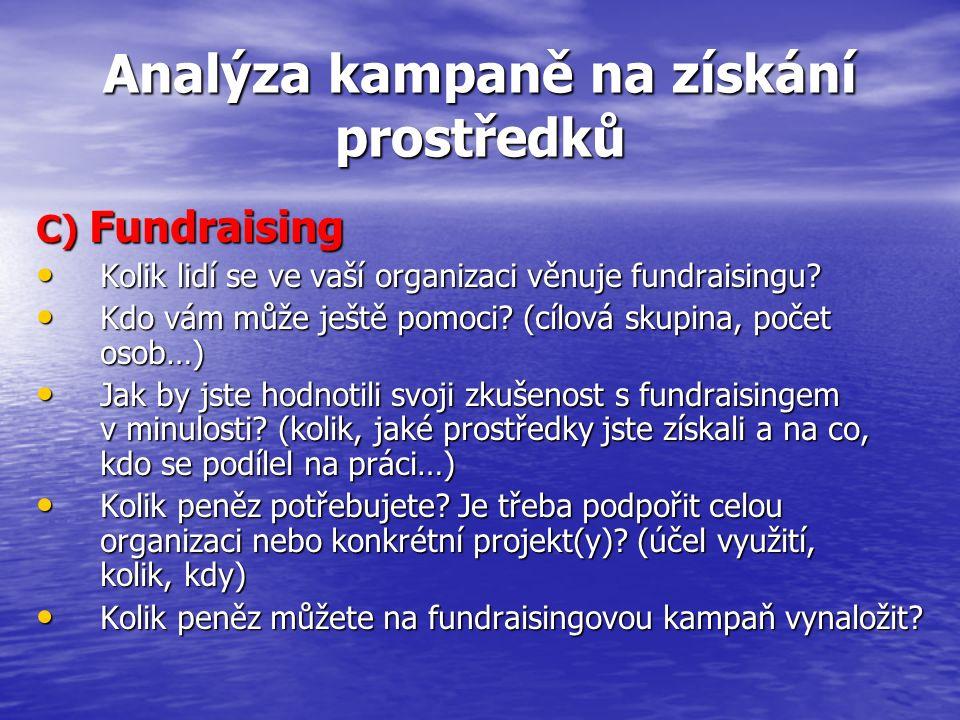 Analýza kampaně na získání prostředků C) Fundraising Kolik lidí se ve vaší organizaci věnuje fundraisingu? Kolik lidí se ve vaší organizaci věnuje fun