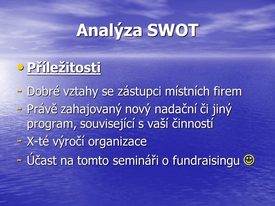 Analýza SWOT Příležitosti Příležitosti - Dobré vztahy se zástupci místních firem - Právě zahajovaný nový nadační či jiný program, související s vaší činností - X-té výročí organizace - Účast na tomto semináři o fundraisingu - Účast na tomto semináři o fundraisingu