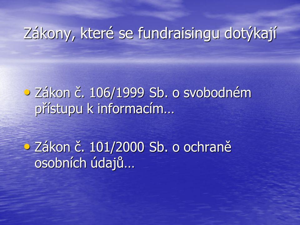 Zákony, které se fundraisingu dotýkají Zákon č. 106/1999 Sb. o svobodném přístupu k informacím… Zákon č. 106/1999 Sb. o svobodném přístupu k informací