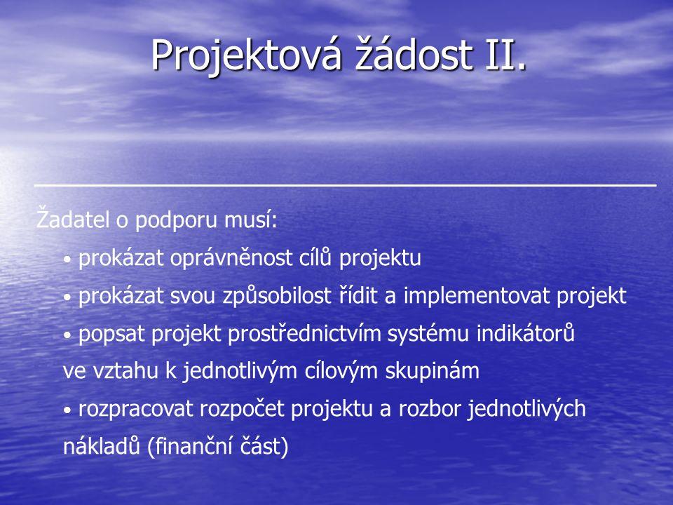 Projektová žádost II. Žadatel o podporu musí: prokázat oprávněnost cílů projektu prokázat svou způsobilost řídit a implementovat projekt popsat projek