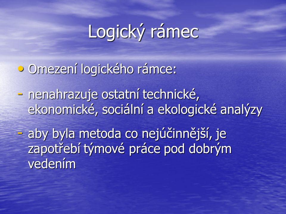Logický rámec Omezení logického rámce: Omezení logického rámce: - nenahrazuje ostatní technické, ekonomické, sociální a ekologické analýzy - aby byla metoda co nejúčinnější, je zapotřebí týmové práce pod dobrým vedením