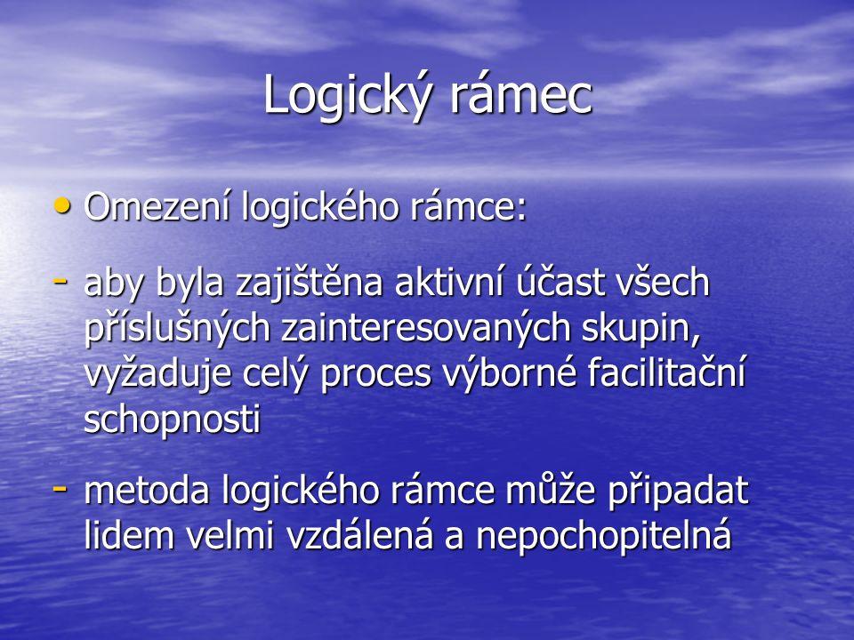 Logický rámec Omezení logického rámce: Omezení logického rámce: - aby byla zajištěna aktivní účast všech příslušných zainteresovaných skupin, vyžaduje celý proces výborné facilitační schopnosti - metoda logického rámce může připadat lidem velmi vzdálená a nepochopitelná