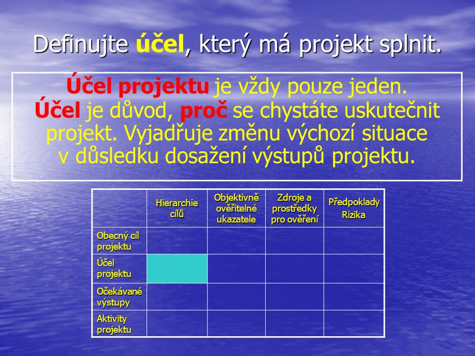 Definujte, který má projekt splnit. Definujte účel, který má projekt splnit.