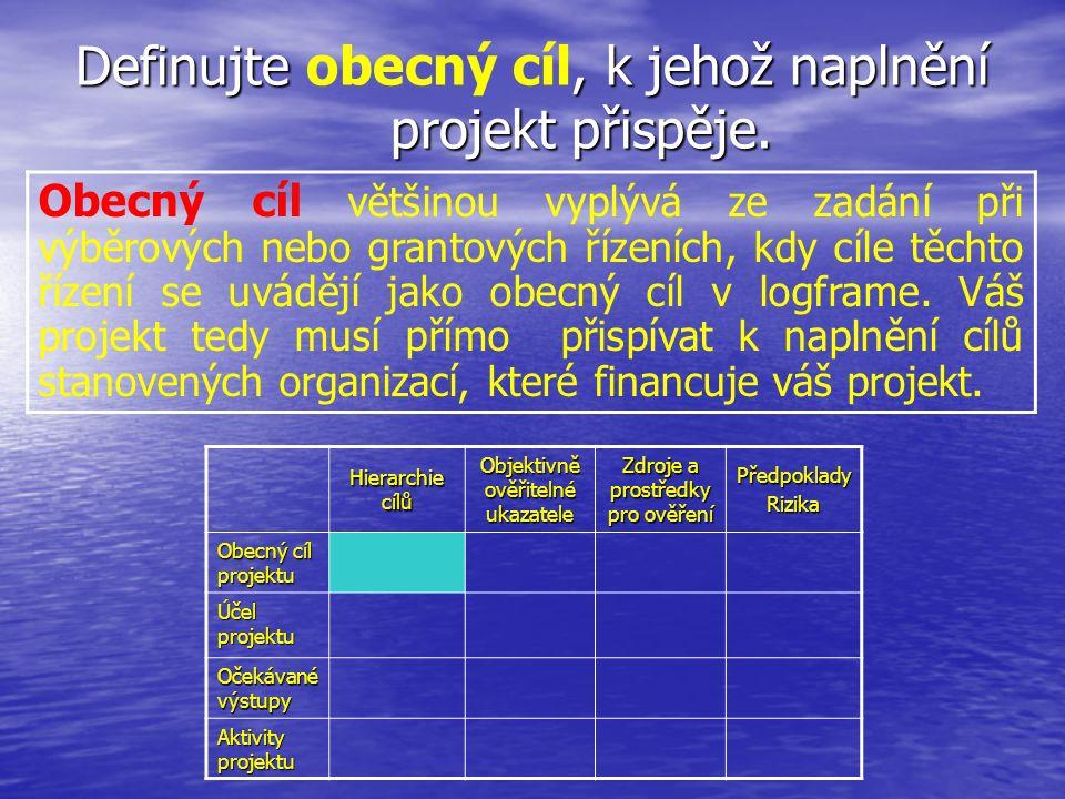Definujte, k jehož naplnění projekt přispěje. Definujte obecný cíl, k jehož naplnění projekt přispěje. Hierarchie cílů Objektivně ověřitelné ukazatele
