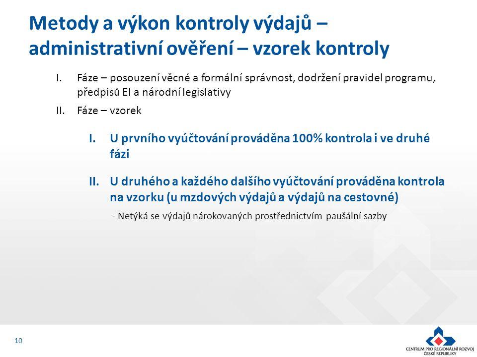 I.Fáze – posouzení věcné a formální správnost, dodržení pravidel programu, předpisů EI a národní legislativy II.Fáze – vzorek I.U prvního vyúčtování prováděna 100% kontrola i ve druhé fázi II.U druhého a každého dalšího vyúčtování prováděna kontrola na vzorku (u mzdových výdajů a výdajů na cestovné) - Netýká se výdajů nárokovaných prostřednictvím paušální sazby Metody a výkon kontroly výdajů – administrativní ověření – vzorek kontroly 10