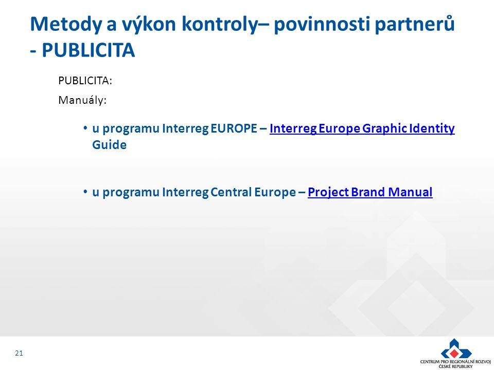 PUBLICITA: Manuály: u programu Interreg EUROPE – Interreg Europe Graphic Identity GuideInterreg Europe Graphic Identity u programu Interreg Central Eu