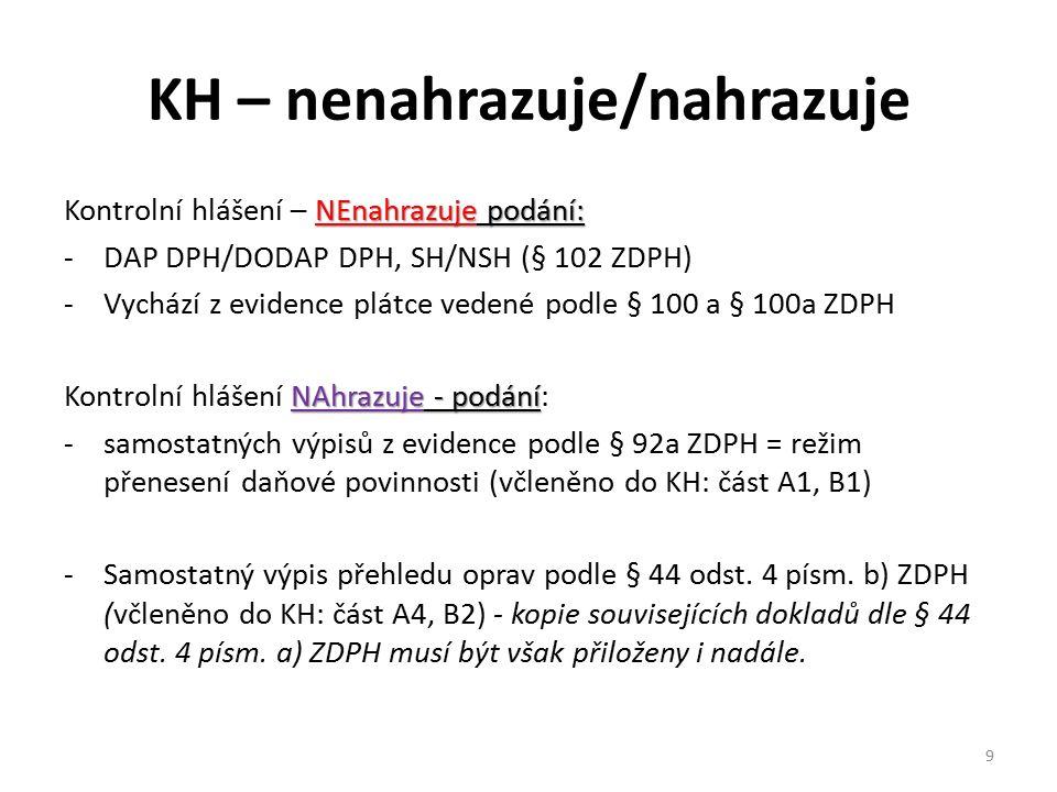 KH – nenahrazuje/nahrazuje NEnahrazuje podání: Kontrolní hlášení – NEnahrazuje podání: -DAP DPH/DODAP DPH, SH/NSH (§ 102 ZDPH) -Vychází z evidence plá