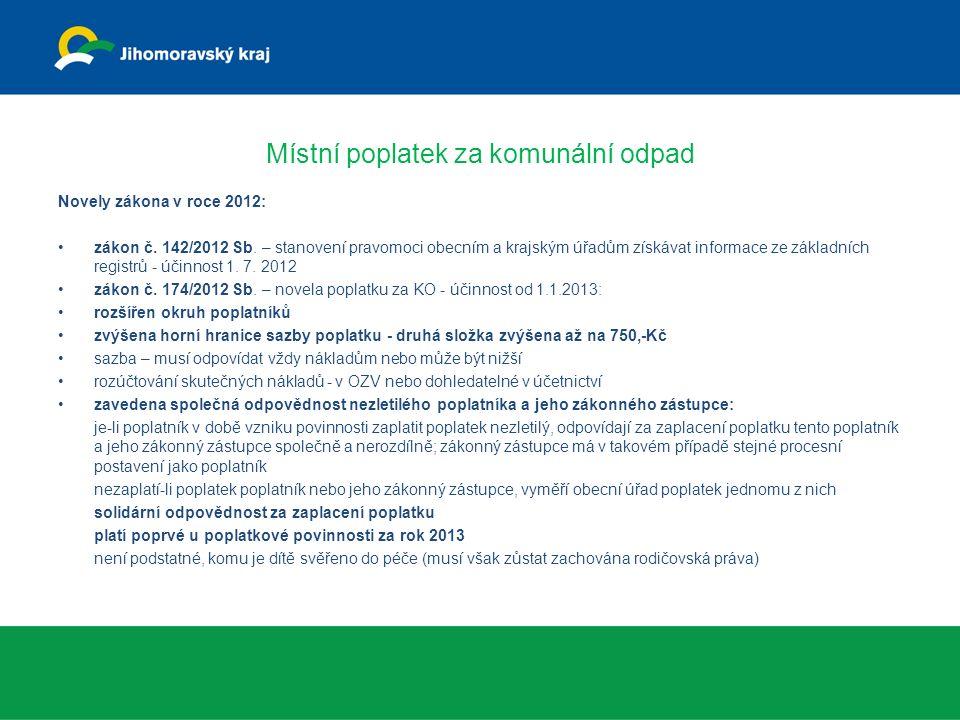 Místní poplatek za komunální odpad Novely zákona v roce 2012: zákon č. 142/2012 Sb. – stanovení pravomoci obecním a krajským úřadům získávat informace