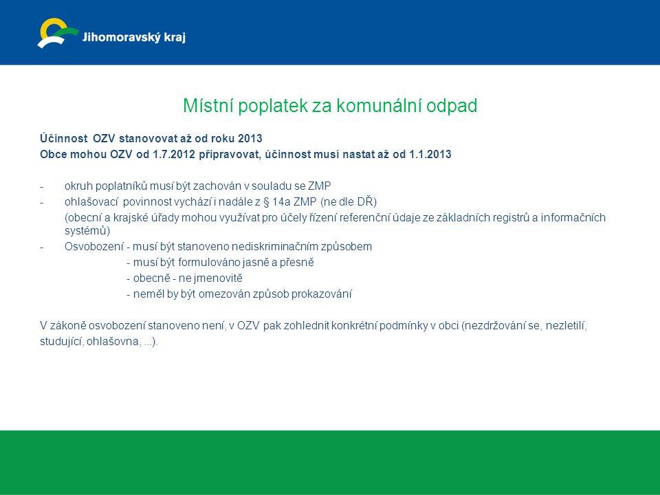Místní poplatek za komunální odpad Účinnost OZV stanovovat až od roku 2013 Obce mohou OZV od 1.7.2012 připravovat, účinnost musí nastat až od 1.1.2013