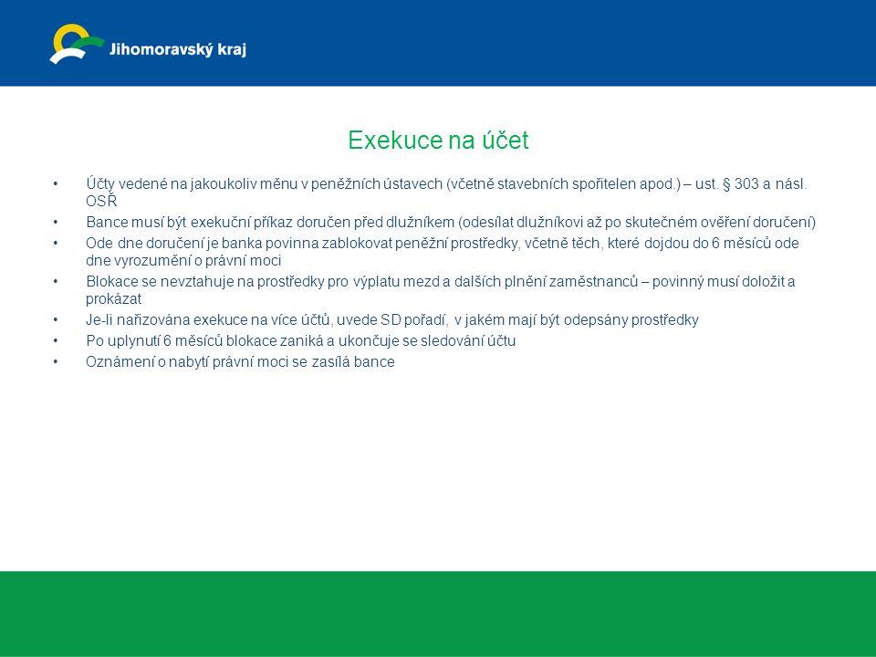Exekuce na účet Účty vedené na jakoukoliv měnu v peněžních ústavech (včetně stavebních spořitelen apod.) – ust. § 303 a násl. OSŘ Bance musí být exeku