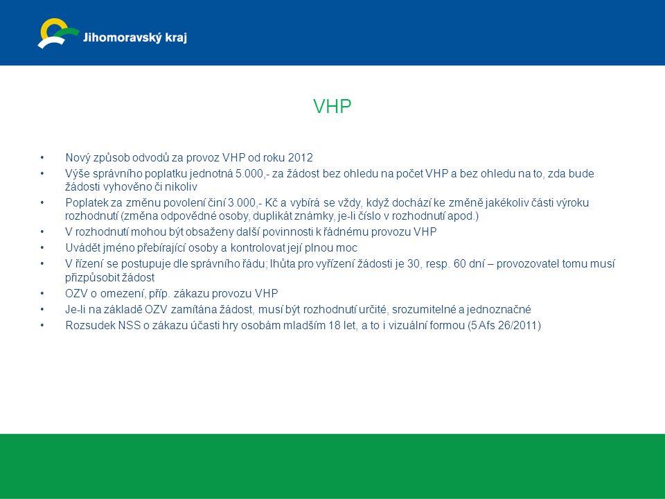 VHP Nový způsob odvodů za provoz VHP od roku 2012 Výše správního poplatku jednotná 5.000,- za žádost bez ohledu na počet VHP a bez ohledu na to, zda b