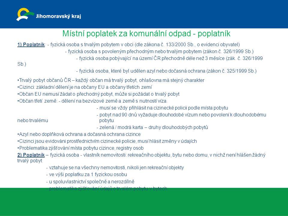 Místní poplatek za komunální odpad - poplatník 1) Poplatník: - fyzická osoba s trvalým pobytem v obci (dle zákona č. 133/2000 Sb., o evidenci obyvatel