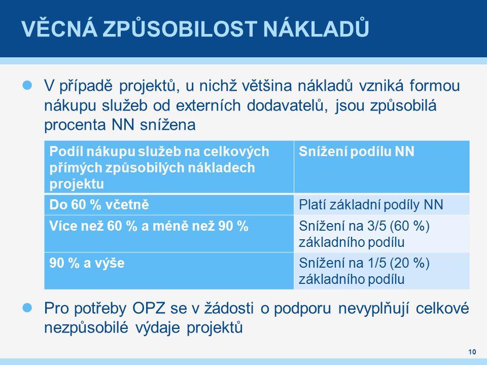 VĚCNÁ ZPŮSOBILOST NÁKLADŮ V případě projektů, u nichž většina nákladů vzniká formou nákupu služeb od externích dodavatelů, jsou způsobilá procenta NN snížena Pro potřeby OPZ se v žádosti o podporu nevyplňují celkové nezpůsobilé výdaje projektů 10 Podíl nákupu služeb na celkových přímých způsobilých nákladech projektu Snížení podílu NN Do 60 % včetněPlatí základní podíly NN Více než 60 % a méně než 90 %Snížení na 3/5 (60 %) základního podílu 90 % a výšeSnížení na 1/5 (20 %) základního podílu