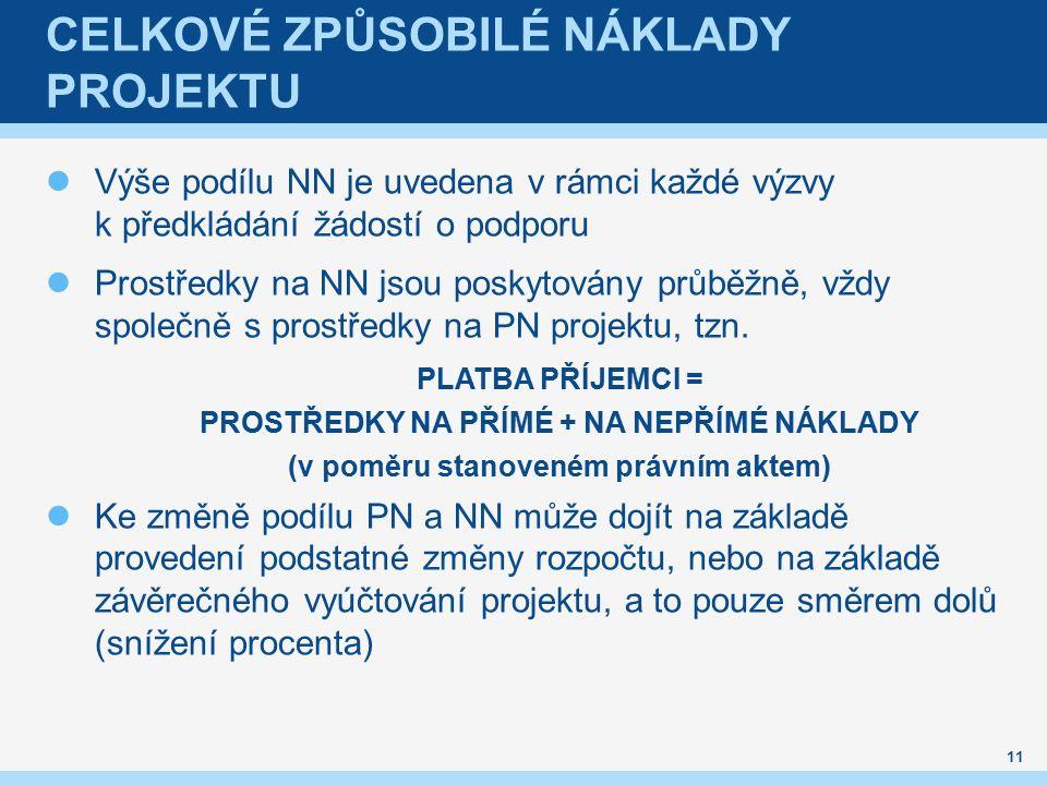 CELKOVÉ ZPŮSOBILÉ NÁKLADY PROJEKTU 11 Výše podílu NN je uvedena v rámci každé výzvy k předkládání žádostí o podporu Prostředky na NN jsou poskytovány průběžně, vždy společně s prostředky na PN projektu, tzn.