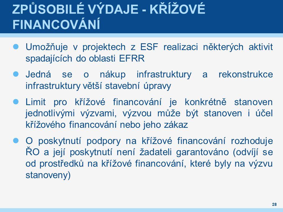 ZPŮSOBILÉ VÝDAJE - KŘÍŽOVÉ FINANCOVÁNÍ Umožňuje v projektech z ESF realizaci některých aktivit spadajících do oblasti EFRR Jedná se o nákup infrastruktury a rekonstrukce infrastruktury větší stavební úpravy Limit pro křížové financování je konkrétně stanoven jednotlivými výzvami, výzvou může být stanoven i účel křížového financování nebo jeho zákaz O poskytnutí podpory na křížové financování rozhoduje ŘO a její poskytnutí není žadateli garantováno (odvíjí se od prostředků na křížové financování, které byly na výzvu stanoveny) 28