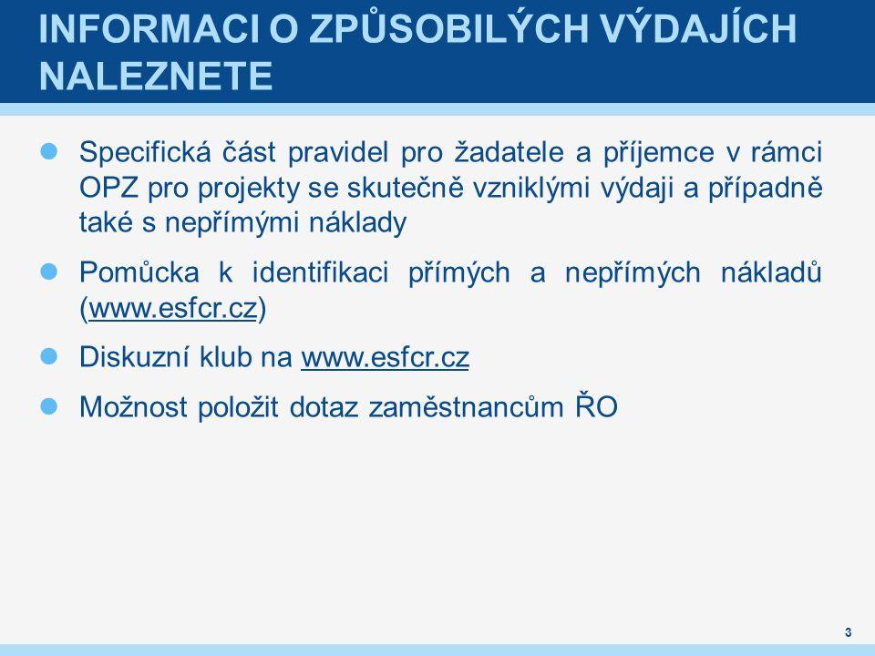 INFORMACI O ZPŮSOBILÝCH VÝDAJÍCH NALEZNETE Specifická část pravidel pro žadatele a příjemce v rámci OPZ pro projekty se skutečně vzniklými výdaji a případně také s nepřímými náklady Pomůcka k identifikaci přímých a nepřímých nákladů (www.esfcr.cz)www.esfcr.cz Diskuzní klub na www.esfcr.czwww.esfcr.cz Možnost položit dotaz zaměstnancům ŘO 3
