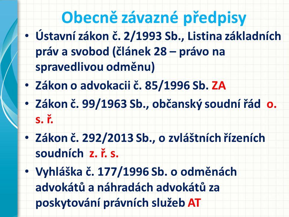 Stavovské předpisy Usnesení představenstva ČAK ze dne 31.