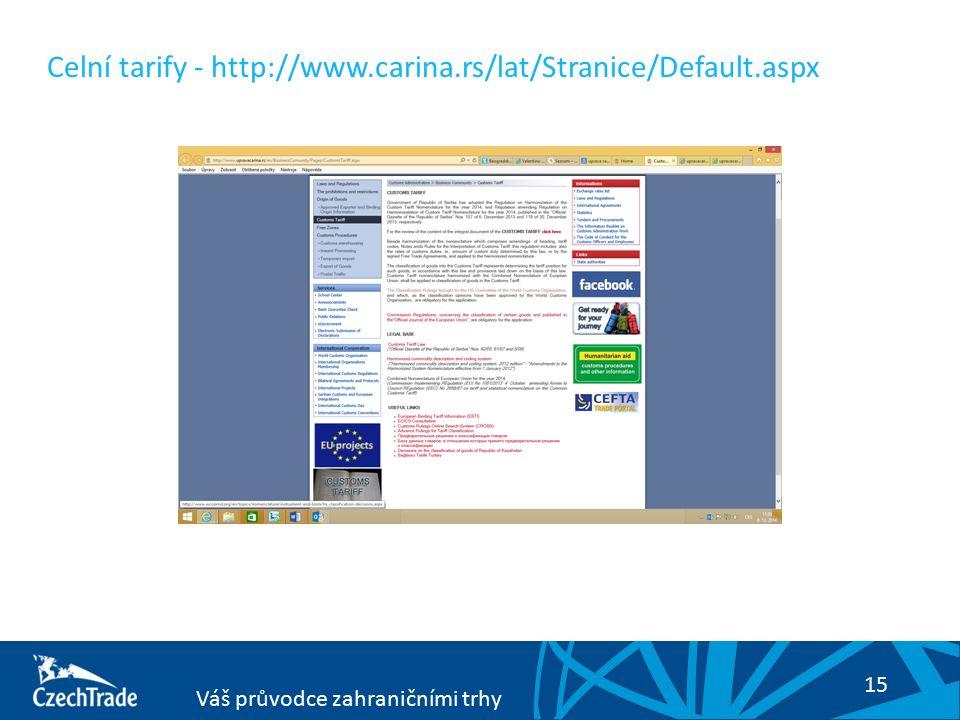 15 Váš průvodce zahraničními trhy Celní tarify - http://www.carina.rs/lat/Stranice/Default.aspx