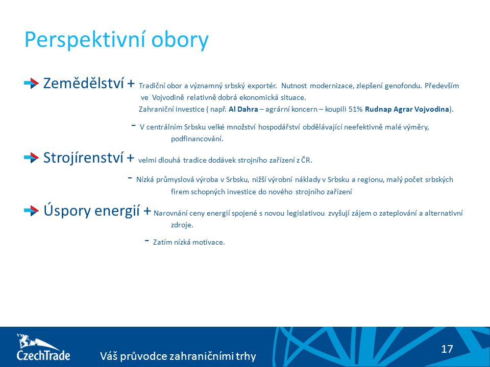 17 Váš průvodce zahraničními trhy Perspektivní obory Zemědělství + Tradiční obor a významný srbský exportér. Nutnost modernizace, zlepšení genofondu.