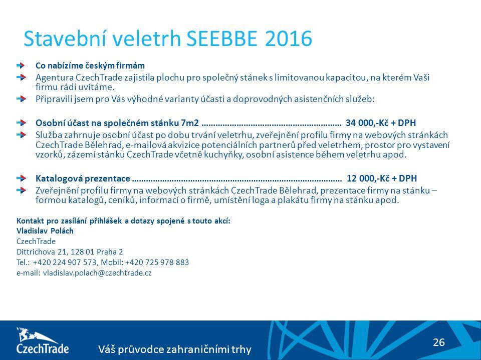 26 Váš průvodce zahraničními trhy Co nabízíme českým firmám Agentura CzechTrade zajistila plochu pro společný stánek s limitovanou kapacitou, na kterém Vaši firmu rádi uvítáme.