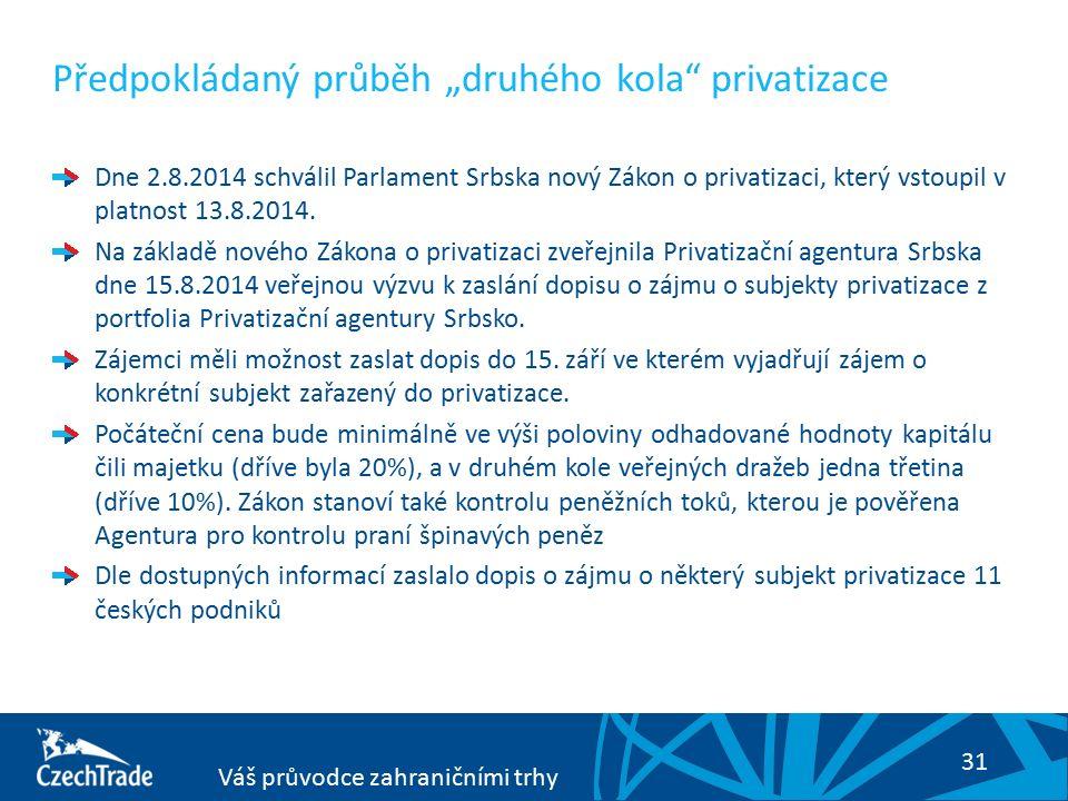 """31 Váš průvodce zahraničními trhy Předpokládaný průběh """"druhého kola privatizace Dne 2.8.2014 schválil Parlament Srbska nový Zákon o privatizaci, který vstoupil v platnost 13.8.2014."""