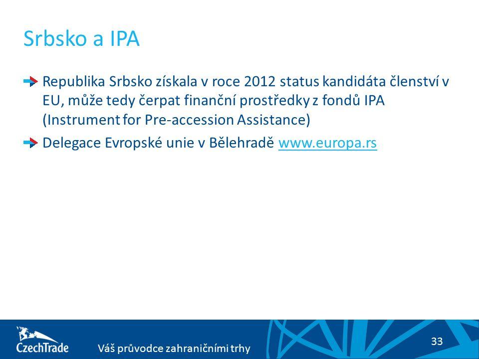 33 Váš průvodce zahraničními trhy Srbsko a IPA Republika Srbsko získala v roce 2012 status kandidáta členství v EU, může tedy čerpat finanční prostředky z fondů IPA (Instrument for Pre-accession Assistance) Delegace Evropské unie v Bělehradě www.europa.rswww.europa.rs
