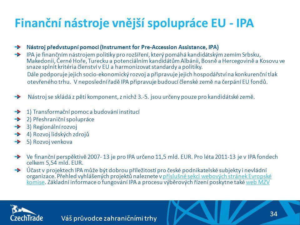 34 Váš průvodce zahraničními trhy Finanční nástroje vnější spolupráce EU - IPA Nástroj předvstupní pomoci (Instrument for Pre-Accession Assistance, IPA) IPA je finančním nástrojem politiky pro rozšíření, který pomáhá kandidátským zemím Srbsku, Makedonii, Černé Hoře, Turecku a potenciálním kandidátům Albánii, Bosně a Hercegovině a Kosovu ve snaze splnit kritéria členství v EU a harmonizovat standardy a politiky.