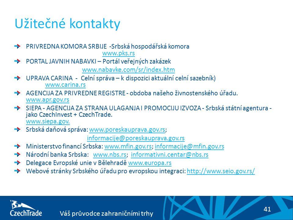 41 Váš průvodce zahraničními trhy Užitečné kontakty PRIVREDNA KOMORA SRBIJE -Srbská hospodářská komora www.pks.rs www.pks.rs PORTAL JAVNIH NABAVKI – Portál veřejných zakázek www.nabavke.com/sr/index.htm UPRAVA CARINA - Celní správa – k dispozici aktuální celní sazebník) www.carina.rswww.carina.rs AGENCIJA ZA PRIVREDNE REGISTRE - obdoba našeho živnostenského úřadu.