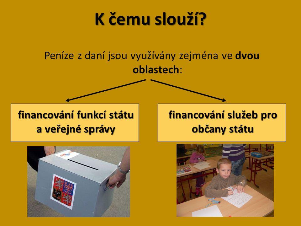 Dělení daní Nejčastěji se rozlišují dvě skupiny daní: 1.Daně přímé poplatník je platí přímo do státního rozpočtu 2.