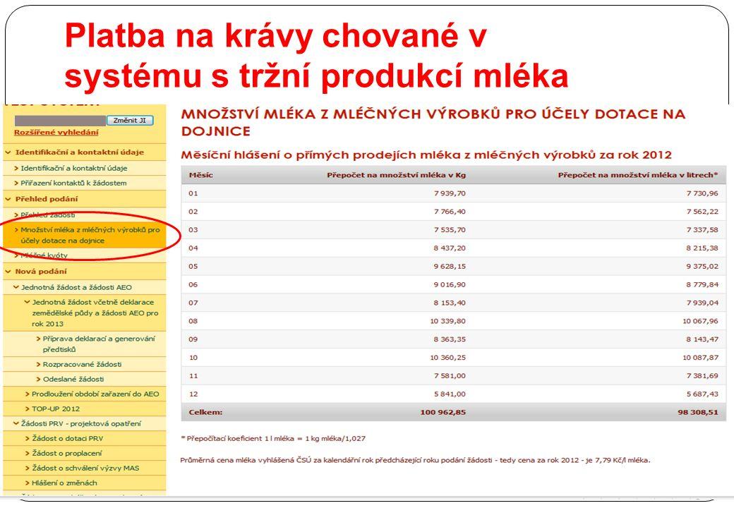Platba na krávy chované v systému s tržní produkcí mléka