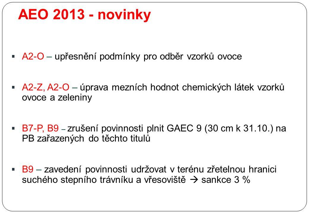 AEO 2013 - novinky  A2-O – upřesnění podmínky pro odběr vzorků ovoce  A2-Z, A2-O – úprava mezních hodnot chemických látek vzorků ovoce a zeleniny  B7-P, B9 – zrušení povinnosti plnit GAEC 9 (30 cm k 31.10.) na PB zařazených do těchto titulů  B9 – zavedení povinnosti udržovat v terénu zřetelnou hranici suchého stepního trávníku a vřesoviště  sankce 3 %