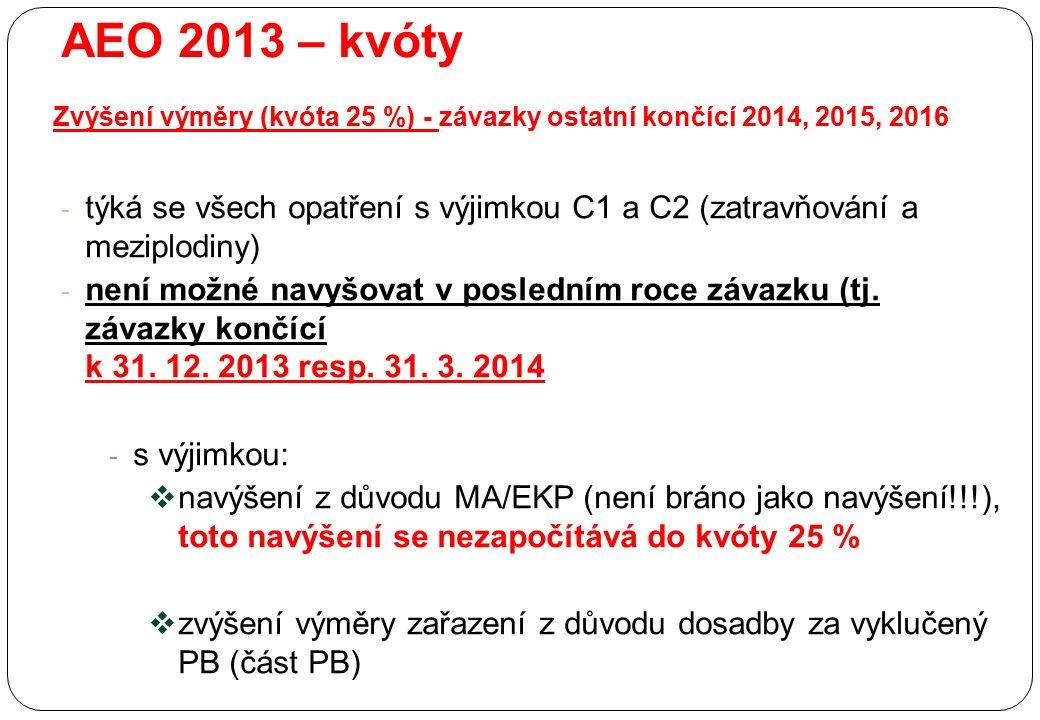 AEO 2013 – kvóty Zvýšení výměry (kvóta 25 %) - závazky ostatní končící 2014, 2015, 2016 - týká se všech opatření s výjimkou C1 a C2 (zatravňování a me