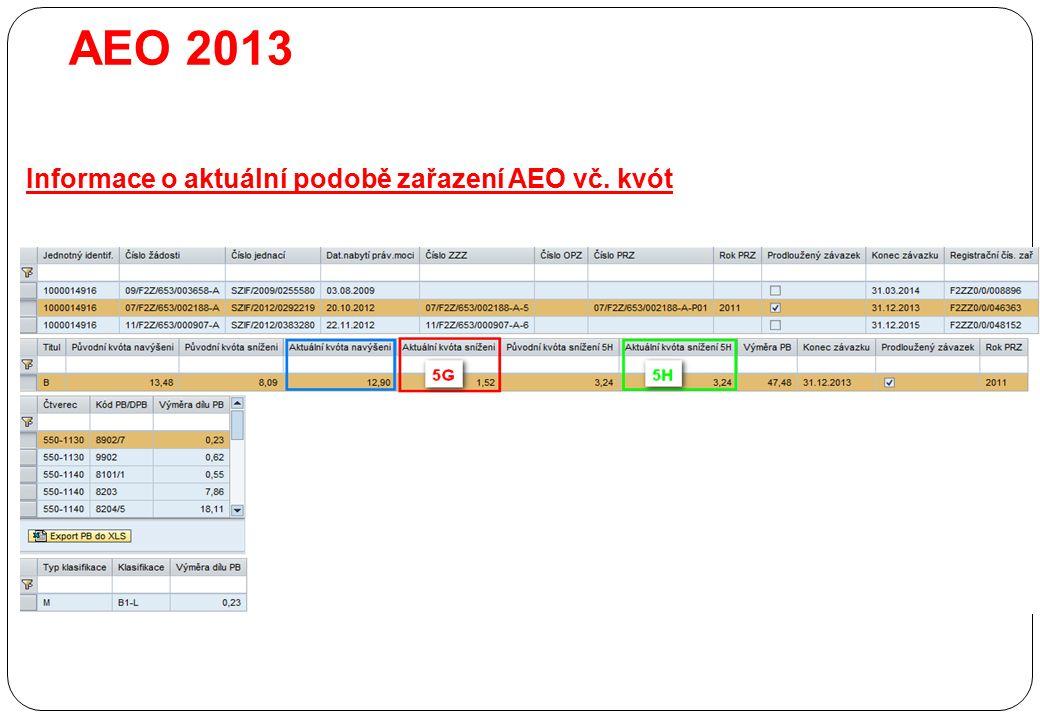 AEO 2013 Informace o aktuální podobě zařazení AEO vč. kvót