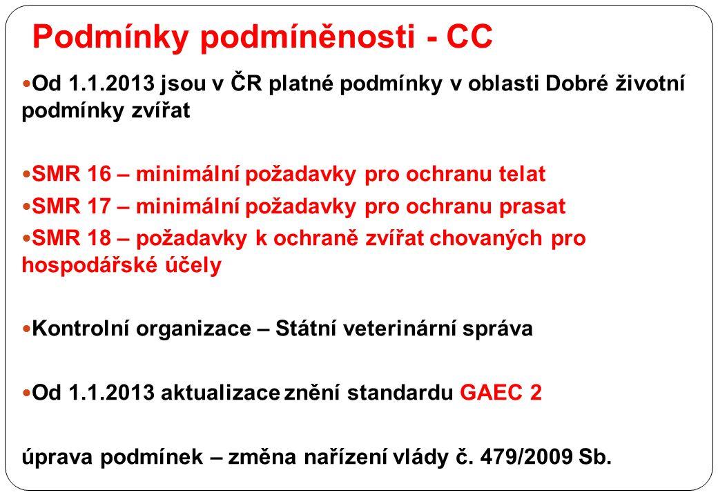 Podmínky podmíněnosti - CC Od 1.1.2013 jsou v ČR platné podmínky v oblasti Dobré životní podmínky zvířat SMR 16 – minimální požadavky pro ochranu telat SMR 17 – minimální požadavky pro ochranu prasat SMR 18 – požadavky k ochraně zvířat chovaných pro hospodářské účely Kontrolní organizace – Státní veterinární správa Od 1.1.2013 aktualizace znění standardu GAEC 2 úprava podmínek – změna nařízení vlády č.