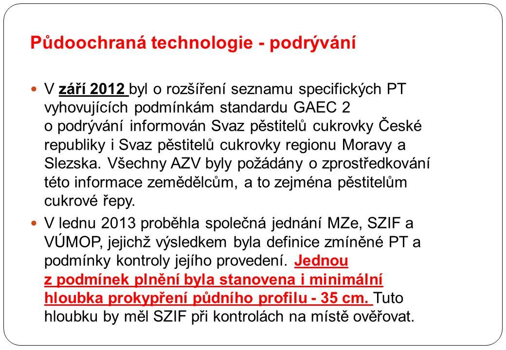 Půdoochraná technologie - podrývání V září 2012 byl o rozšíření seznamu specifických PT vyhovujících podmínkám standardu GAEC 2 o podrývání informován Svaz pěstitelů cukrovky České republiky i Svaz pěstitelů cukrovky regionu Moravy a Slezska.