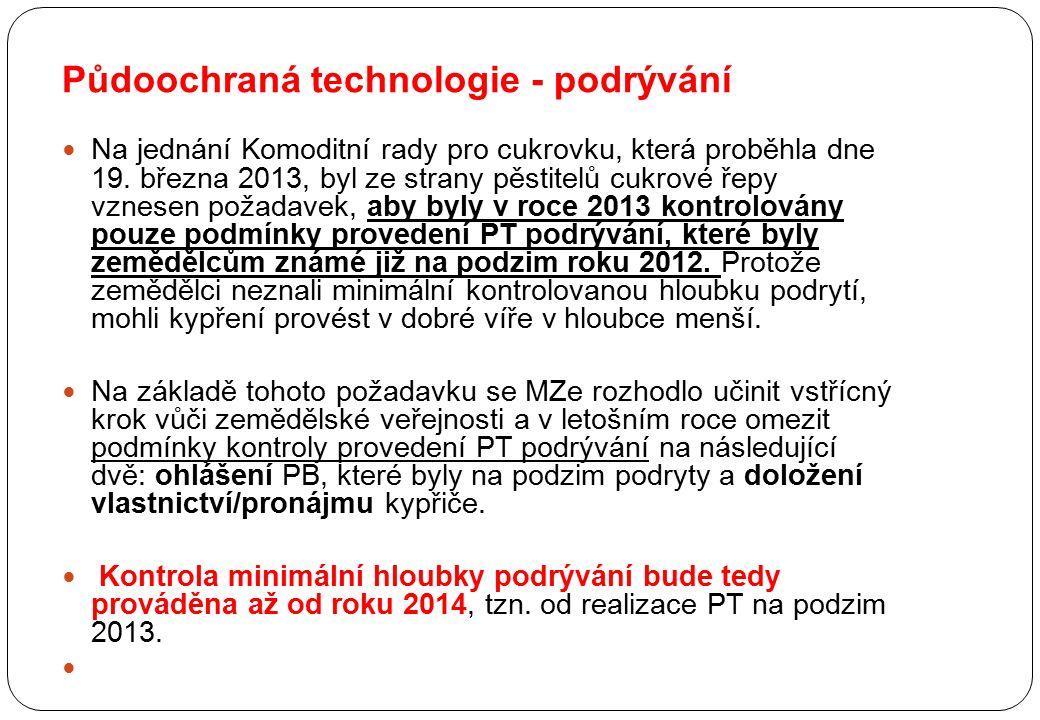 Půdoochraná technologie - podrývání Na jednání Komoditní rady pro cukrovku, která proběhla dne 19. března 2013, byl ze strany pěstitelů cukrové řepy v