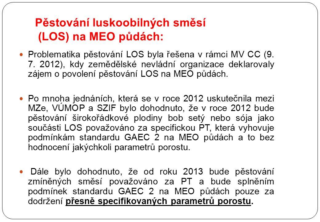 Pěstování luskoobilných směsí (LOS) na MEO půdách: Problematika pěstování LOS byla řešena v rámci MV CC (9. 7. 2012), kdy zemědělské nevládní organiza