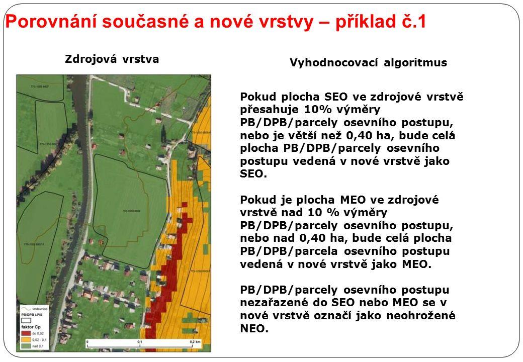 Porovnání současné a nové vrstvy – příklad č.1 Zdrojová vrstva Pokud plocha SEO ve zdrojové vrstvě přesahuje 10% výměry PB/DPB/parcely osevního postup