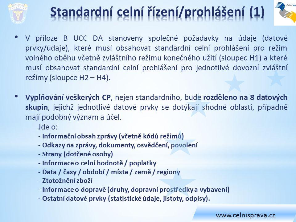 V příloze B UCC DA stanoveny společné požadavky na údaje (datové prvky/údaje), které musí obsahovat standardní celní prohlášení pro režim volného oběh