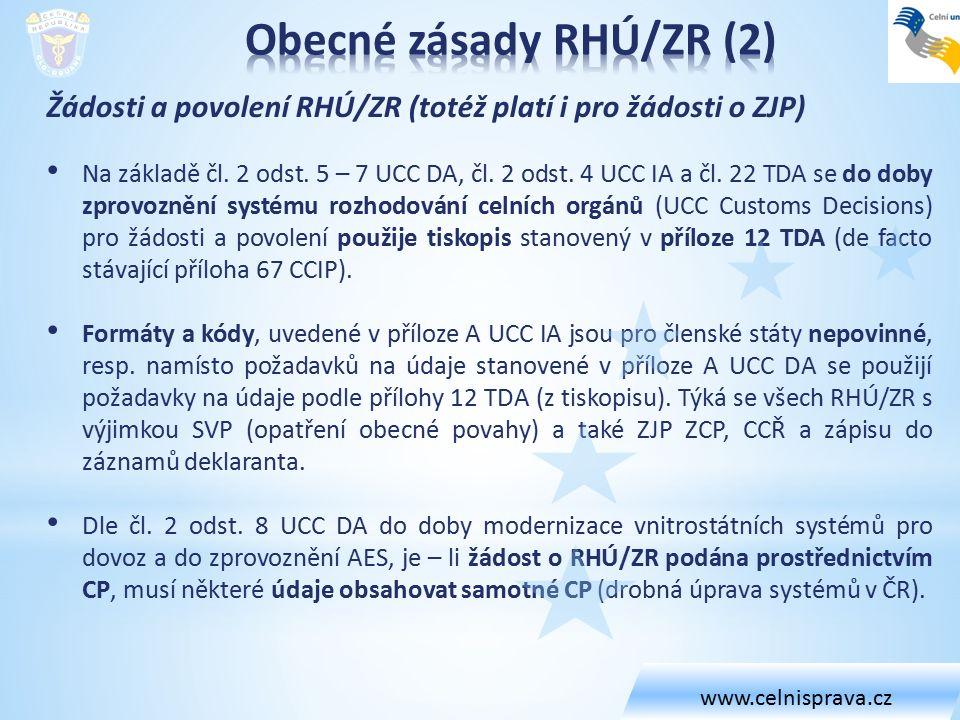 Žádosti a povolení RHÚ/ZR (totéž platí i pro žádosti o ZJP) Na základě čl. 2 odst. 5 – 7 UCC DA, čl. 2 odst. 4 UCC IA a čl. 22 TDA se do doby zprovozn