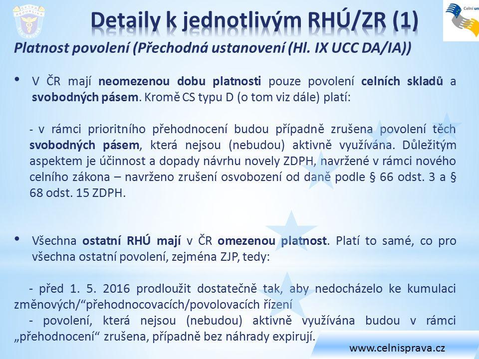 Platnost povolení (Přechodná ustanovení (Hl. IX UCC DA/IA)) V ČR mají neomezenou dobu platnosti pouze povolení celních skladů a svobodných pásem. Krom