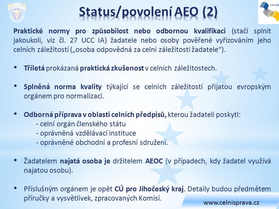 Praktické normy pro způsobilost nebo odbornou kvalifikaci (stačí splnit jakoukoli, viz čl. 27 UCC IA) žadatele nebo osoby pověřené vyřizováním jeho ce