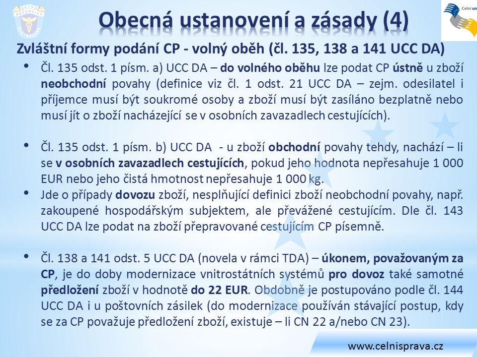 Zvláštní formy podání CP - volný oběh (čl. 135, 138 a 141 UCC DA) Čl. 135 odst. 1 písm. a) UCC DA – do volného oběhu lze podat CP ústně u zboží neobch