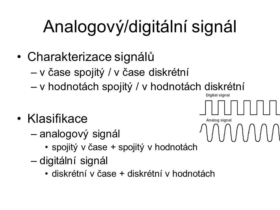 Analogový/digitální signál Charakterizace signálů –v čase spojitý / v čase diskrétní –v hodnotách spojitý / v hodnotách diskrétní Klasifikace –analogový signál spojitý v čase + spojitý v hodnotách –digitální signál diskrétní v čase + diskrétní v hodnotách