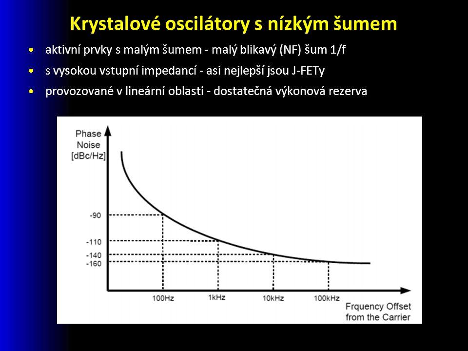 Krystalové oscilátory s nízkým šumem aktivní prvky s malým šumem - malý blikavý (NF) šum 1/f s vysokou vstupní impedancí - asi nejlepší jsou J-FETy provozované v lineární oblasti - dostatečná výkonová rezerva