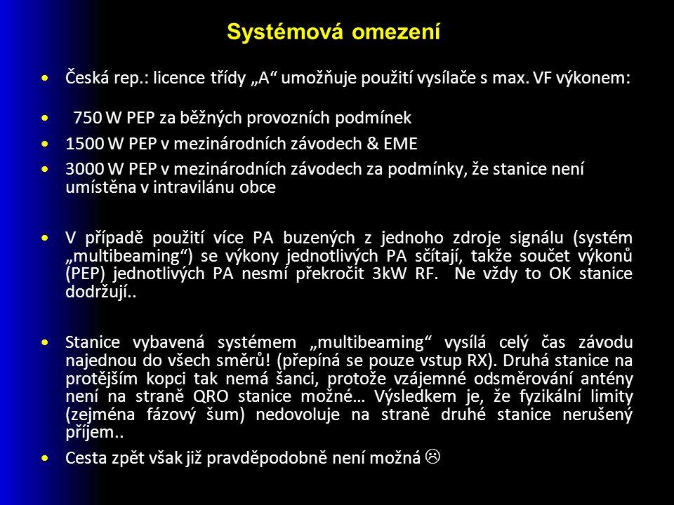 """Česká rep.: licence třídy """"A umožňuje použití vysílače s max."""