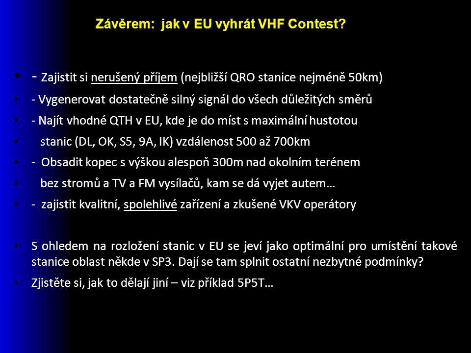 - Zajistit si nerušený příjem (nejbližší QRO stanice nejméně 50km) - Vygenerovat dostatečně silný signál do všech důležitých směrů - Najít vhodné QTH v EU, kde je do míst s maximální hustotou stanic (DL, OK, S5, 9A, IK) vzdálenost 500 až 700km - Obsadit kopec s výškou alespoň 300m nad okolním terénem bez stromů a TV a FM vysílačů, kam se dá vyjet autem… - zajistit kvalitní, spolehlivé zařízení a zkušené VKV operátory S ohledem na rozložení stanic v EU se jeví jako optimální pro umístění takové stanice oblast někde v SP3.