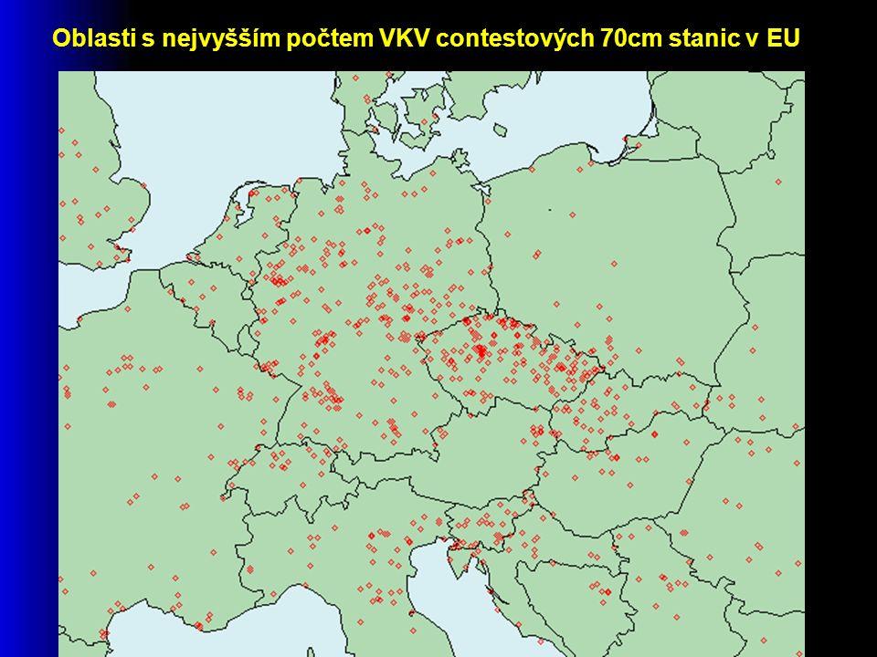 Oblasti s nejvyšším počtem VKV contestových 70cm stanic v EU
