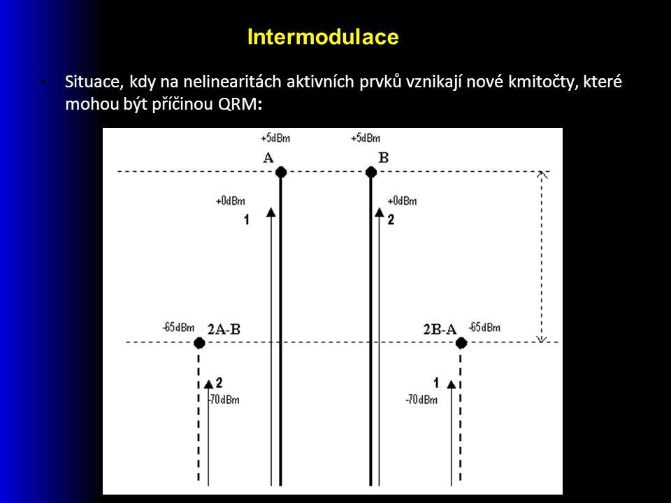 Situace, kdy na nelinearitách aktivních prvků vznikají nové kmitočty, které mohou být příčinou QRM: Intermodulace